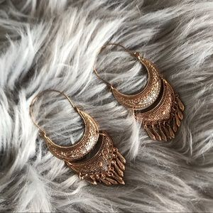 Large Dangly Boho Gold Earrings